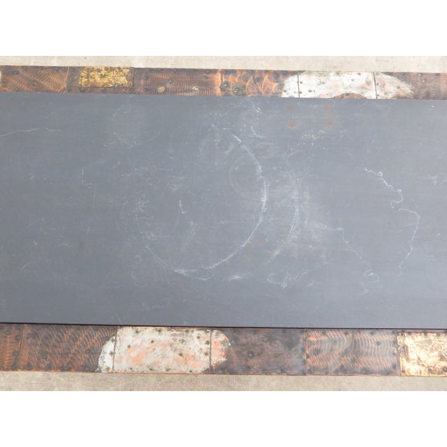 Mid 20th Century Paul Evans Mixed Metal Patchwork Slate Top Coffee Table For Sale - Image 11 of 13