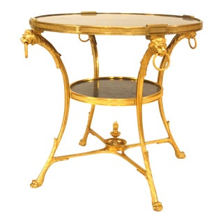 French Empire Bronze Lion End Tables For Sale