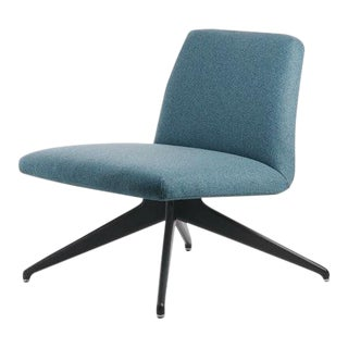 Potocco Italian Mid-Century Modern Dark Green Upholstered Chair For Sale