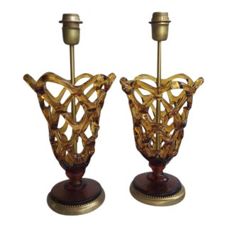 Murano Amber Glass Table Lamps - a Pair For Sale