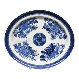Chinese Export Porcelain Large Blue & White Fitzhugh Dish, Circa 1790. For Sale