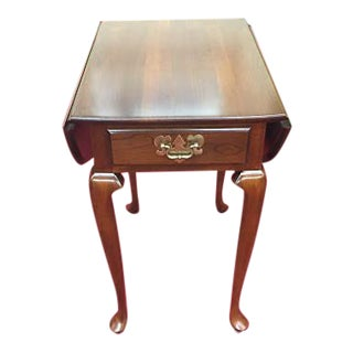 1980s Harden Cherry Drop Leaf End Table For Sale
