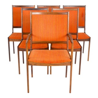 Vintage Mid Century Kofod Larsen Rosewood Highback Dining Chairs - Set of 6 For Sale