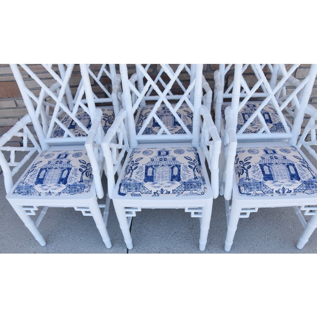 Asian 1950s Chinoiserie Faux-Bamboo Chippendale-Style Dinning Armchairs - Set of 6 For Sale - Image 3 of 13