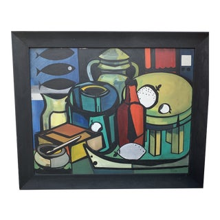 "Cubist Still Life With Bottles and Fish Signed on Verso ""m. Ridley"" and ""Marleen Wooling"" on the Frame For Sale"