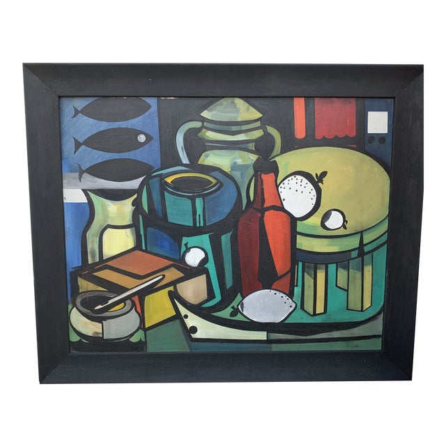 """Cubist Still Life With Bottles and Fish Signed on Verso """"m. Ridley"""" and """"Marleen Wooling"""" on the Frame For Sale"""