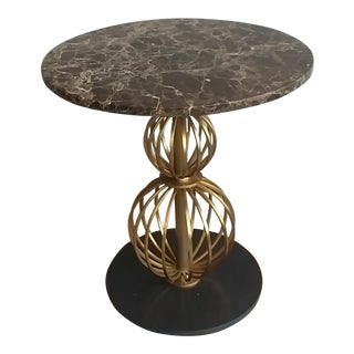 Hollywood Regency Henredon Furniture Barbara Barry Marble & Brass Round Poodle Table For Sale