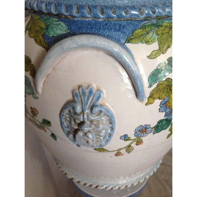 """Pair"" of Massive Glazed Terra Cotta Urns on Pedestals For Sale - Image 9 of 13"