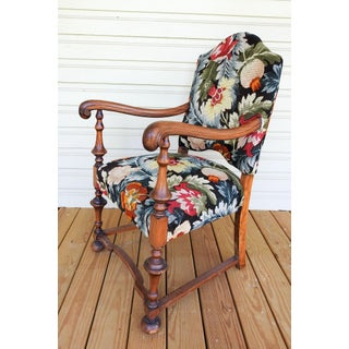 Vintage William & Mary Style English Walnut Arm Chair Preview