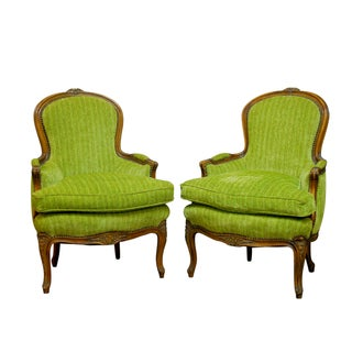 Louis XV Carved Chartreuse Velvet Bergeres - Pair For Sale