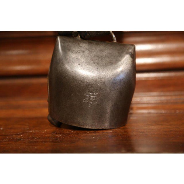 19th Century French Signed Cow Bell With Original Leather Collar & Bronze Buckle For Sale - Image 4 of 9