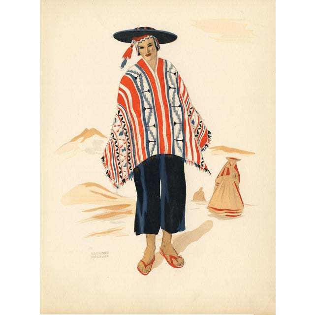 1941 Peruvian Costume Print For Sale
