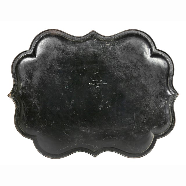 Mid 19th Century Victorian Green Painted Tole Tray Table For Sale - Image 5 of 11