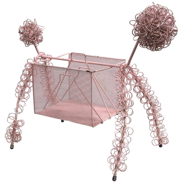 Metal Frederick Weinberg Pink Poodle Magazine Stand For Sale - Image 7 of 7