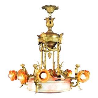 Antique Large Brass and Alabaster Center Cherub Pendant Chandelier 10-Light For Sale