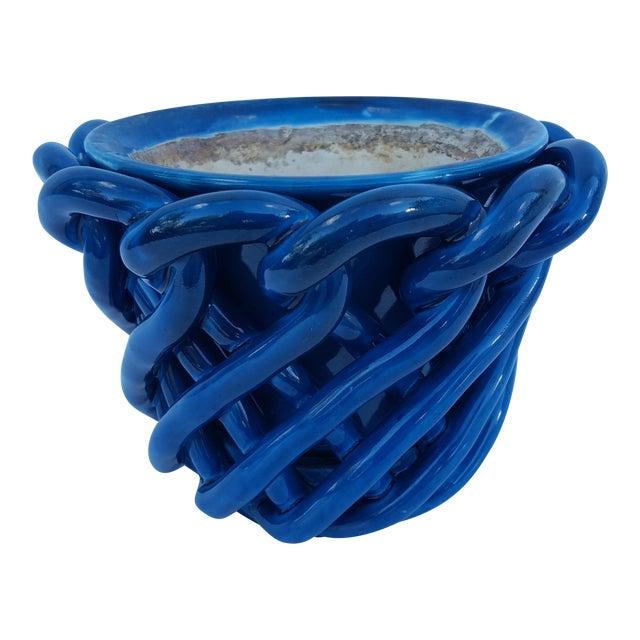 Vintage Blue Turquoise Decorative Planter Pot. For Sale