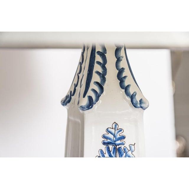 Italian Glazed Terra Cotta Blue & White Elephant Obelisks, A-Pair For Sale - Image 10 of 12