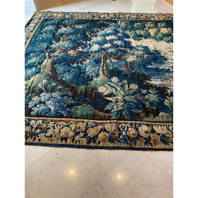 Textile Antique Square 17th Century Flemish Verdure Landscape with Birds Tapestry For Sale - Image 7 of 10