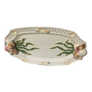 Vintage Majolica Porcelain Serving Platter Tray For Sale