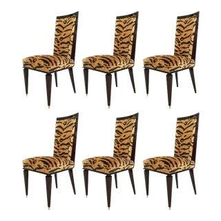 Art Deco Ebony De Macassar Dining Chairs - Set of 6 For Sale
