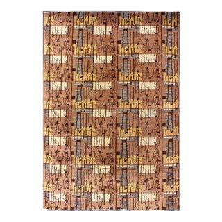 Keivan Woven Arts, Tu-Mtu-09, Vintage Mid-Century Turkish Brown Rug - 5′2″ × 7′11″ For Sale