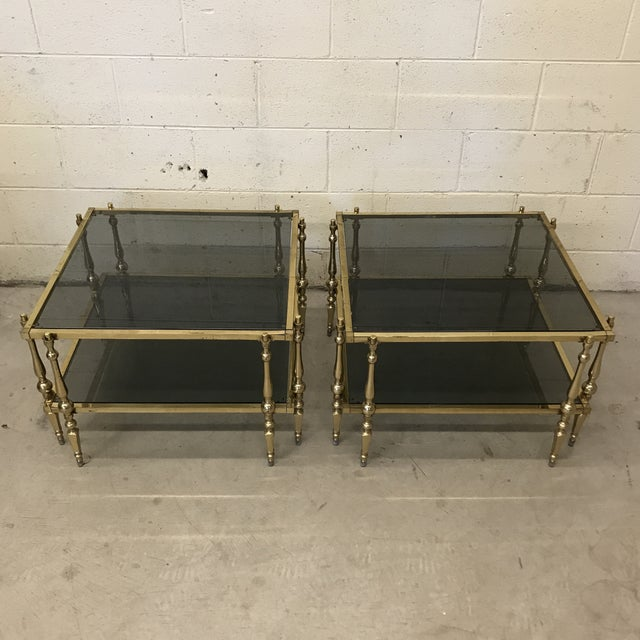 Italian Smoked Glass & Brass End Tables For Sale - Image 11 of 11