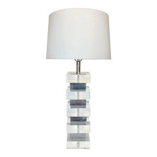 Lucite & Chrome Massive Table Lamp For Sale