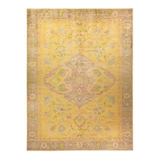 """Oushak, One-Of-A-Kind Hand-Knotted Area Rug - Yellow, 10' 3"""" X 13' 8"""" For Sale"""