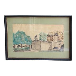1950s Vintage Watercolor Painting of Paris For Sale