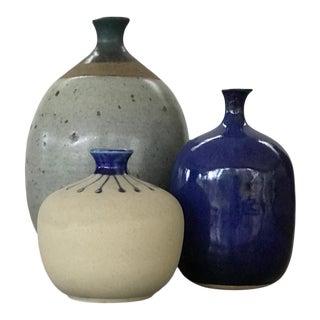 1970s Blue Gray Studio Pottery Weed Pots Bud Vases - Set of 3
