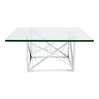 Geometric Chrome Coffee Table with Sculpted Metal Work For Sale