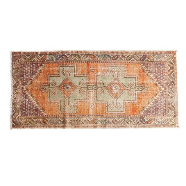 "Vintage Distressed Oushak Rug - 3'11"" X 8'3"" For Sale - Image 11 of 11"