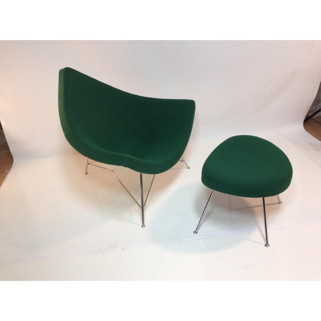 An icon of modern design, early production late fifties coconut chair & ottoman by George Nelson for Herman Miller. Chair...