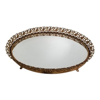 Hollywood Regency Footed Gold Filagree Mirrored Tray For Sale