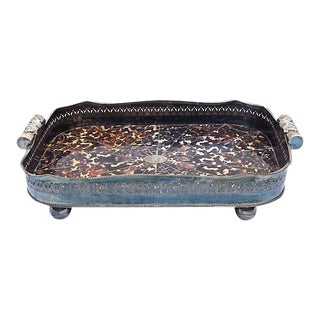 Vintage Silver & Faux-Tortoise Serving Tray For Sale