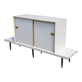 Mid-Century White Low Table & Cabinet - a Pair For Sale