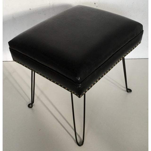 2010s Modern Black Leather Occasional Stool Folding Legs For Sale - Image 5 of 11
