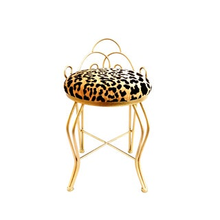 Hollywood Regency Leopard Velvet Gold Iron Vanity Stool For Sale