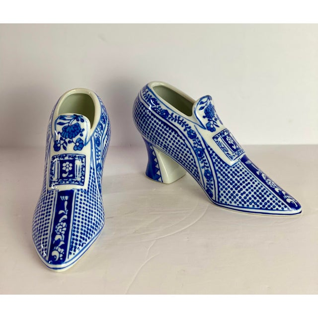 1960s Vintage Chinoiserie Royal Blue Porcelain Shoes - a Pair For Sale - Image 5 of 8