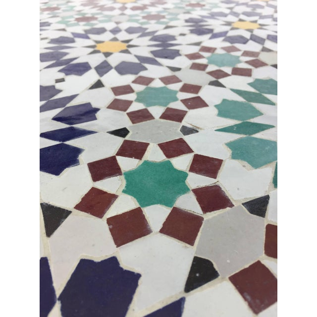 Moroccan Round Mosaic Outdoor Tile Table in Fez Moorish Design For Sale - Image 4 of 10
