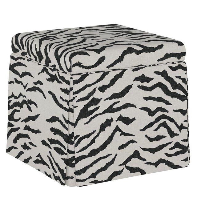 Dyer Storage Ottoman in Linen Zebra Cream Black Oga For Sale In Chicago - Image 6 of 6