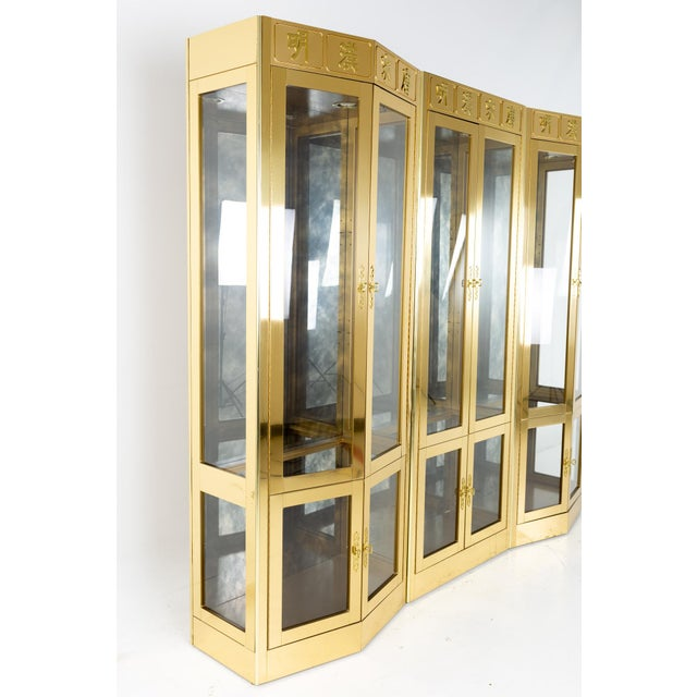 Mastercraft Mid Century Brass Display Cabinet - Set of 3 Each of the two side pieces measure: 32 wide x 19 deep x 85.5...