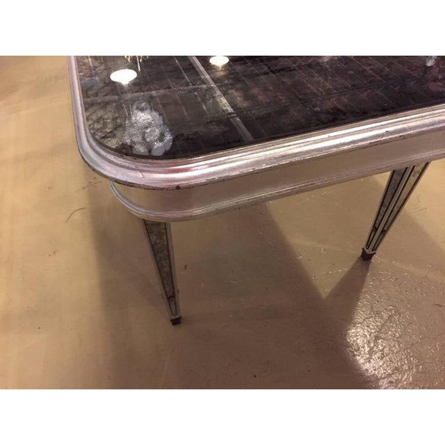 Bronze Antique Mirrored Hollywood Regency Decorative Dining Room Table For Sale - Image 7 of 10