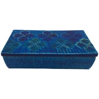 Aldo Londi Bitossi Blue Clover Motif Box, Sample #10/20 For Sale