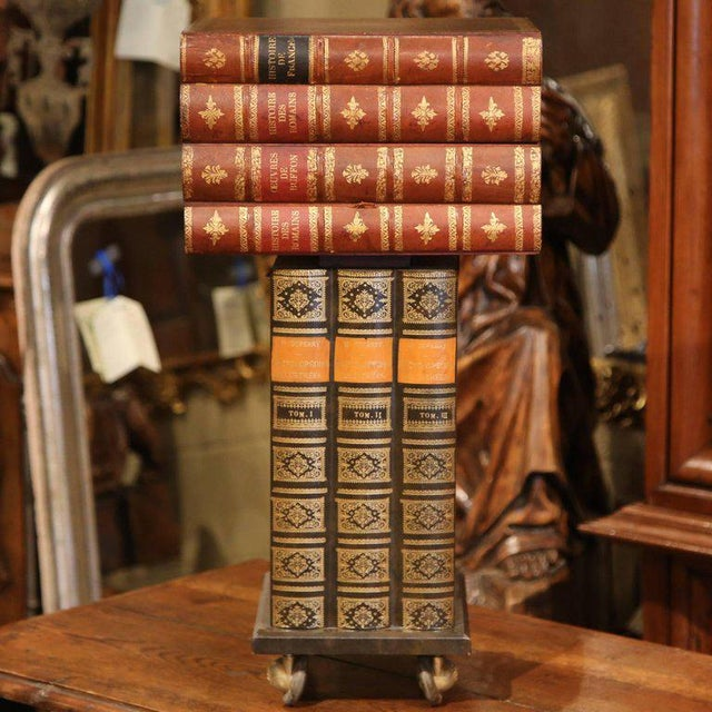 French Mid-20th Century French Stacked Book End Table on Wheels For Sale - Image 3 of 8