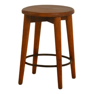 1950s Vintage French Pierre Jeanneret Style Patinated Oak Stool For Sale