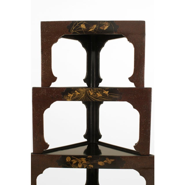 Asian Japanese Stacked Black Lacquered Tables- Set of 7 For Sale - Image 4 of 5