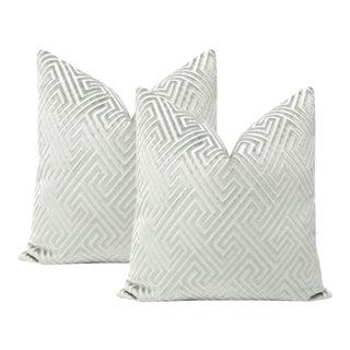 """22"""" Platinum Roman Cut Velvet Pillows - a Pair For Sale"""