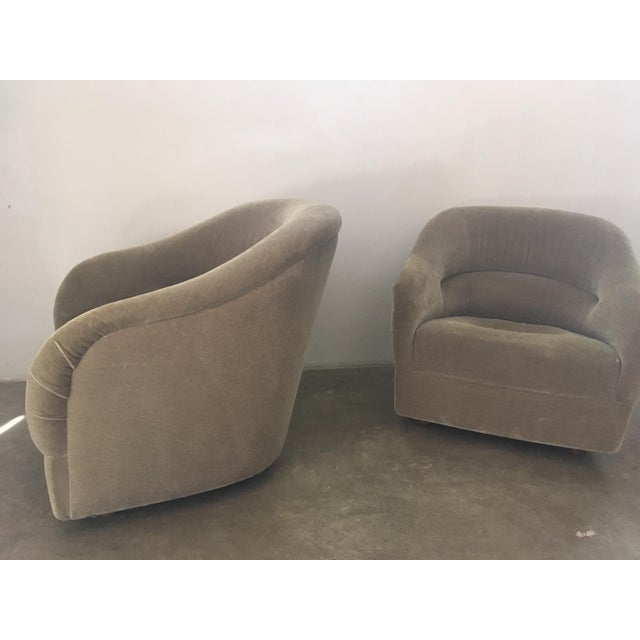 Tan Pair of Ward Bennett Mohair Club Chairs For Sale - Image 8 of 12