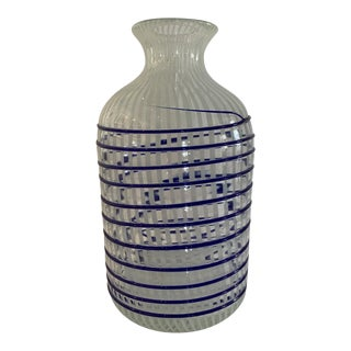 1970s Hand Blown Art Glass Vase in Blue and White For Sale